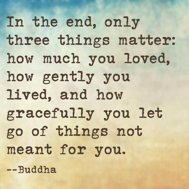 """In the end, only three things matter: how much you loved, how gently you lived, and how gracefully you let go of things not meant for you."" ∞ Buddha #quote"