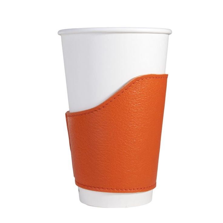 Orange Coffee Cup Cozies Sleeve Brights Leather | Graphic Image
