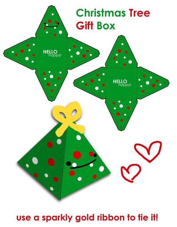 Feliz árbol de Navidad caja de regalo por hellohappycrafts