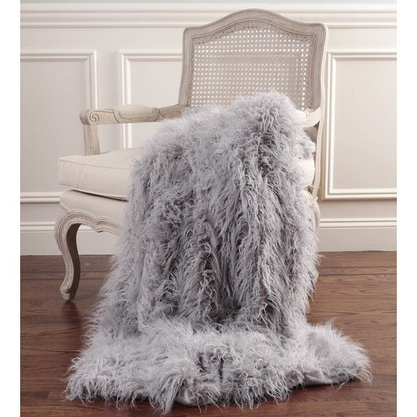 "Mongolian Lamb Faux Fur Throw Color: Gray, Size: 58"" W x 84"" L ($141) ❤ liked on Polyvore featuring home, bed & bath, bedding, blankets, winter blanket, faux fur throw blanket, grey faux fur blanket, gray throw blanket and gray throw"