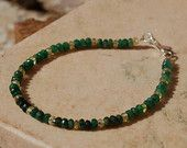 Emerald and Golden Sapphire Precious Gemstone Bracelet