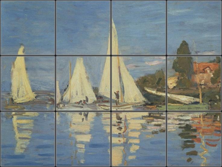 Regatta At Argenteuil Is A Coastal Shower Tile Mural By Claude Monet.
