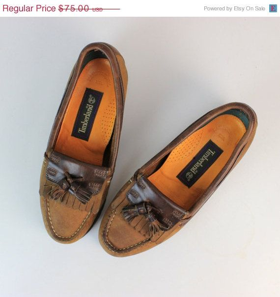 ON SALE Timberland Brown Leather Moccasins by theDarlingVintage, $56.25 #timberland #loafers #moccasins #leather #size6 #slippers #vintage