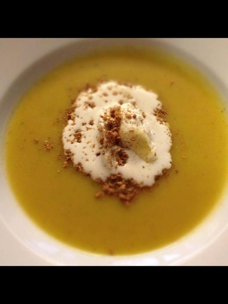Spiced butternut squash soup, vanilla foam, crushed amoretti cookies. #chef_junpet