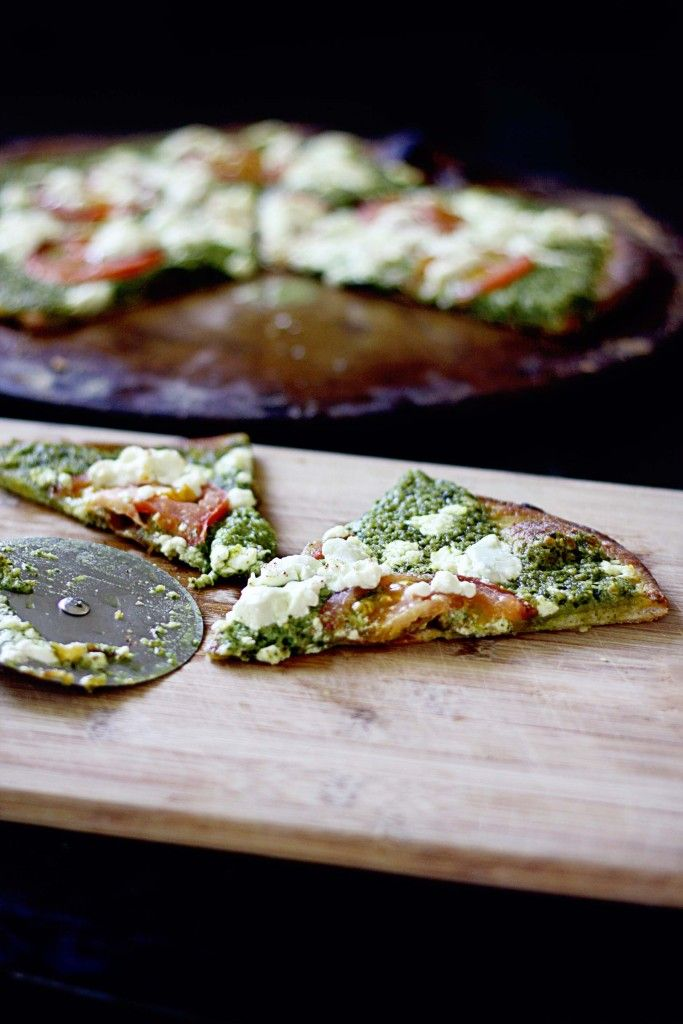 Pesto Pizza with Tomato and Goat Cheese