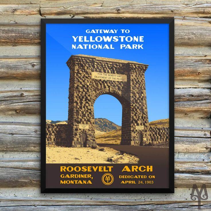YNP Roosevelt Arch, framed poster