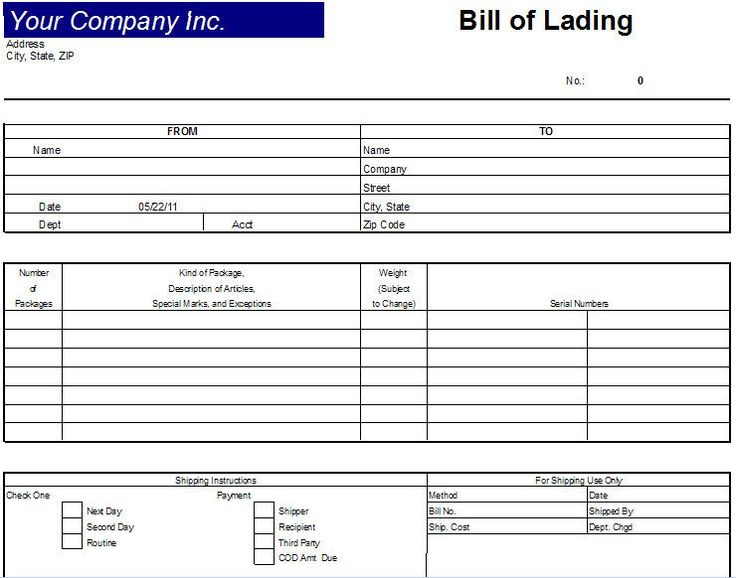 Printable Sample Bill Of Lading Template Form