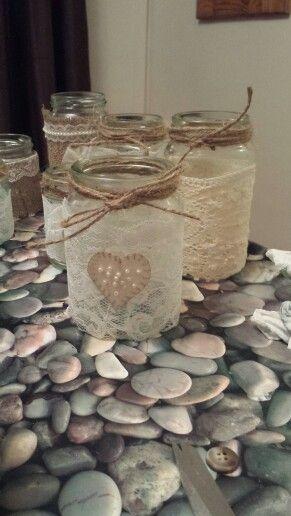 handmade lace tealight jars