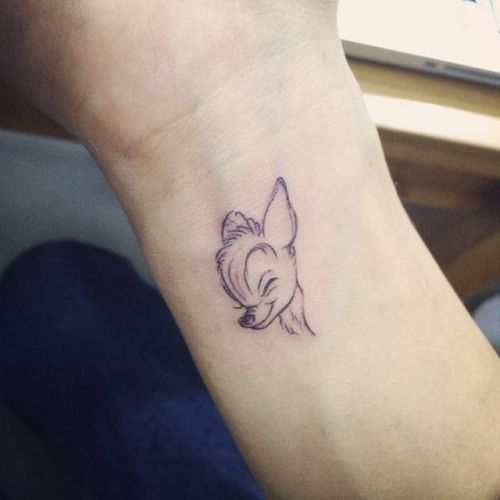 Small bambi tattoo on the left wrist. Tattoo artist: Doy