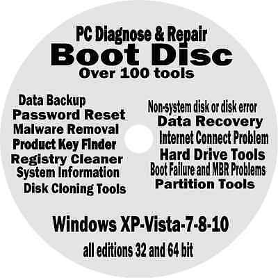 WINDOWS XP VISTA 7 8 PRO BOOT CD:PC DIAGNOSE REPAIR Toshiba Sony Acer Dell HP LG