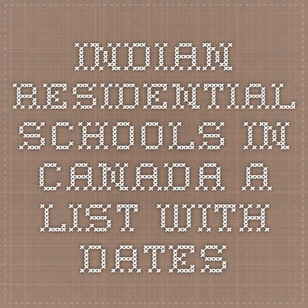Indian Residential Schools in Canada. A List with Dates