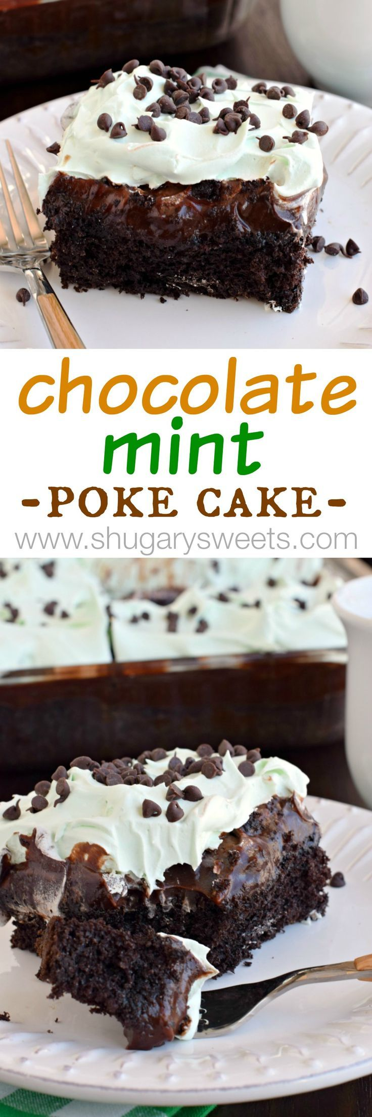 Grasshopper Poke Cake: a delicious chocolate cake topped with chocolate pudding, hot fudge, and minty Cool Whip!