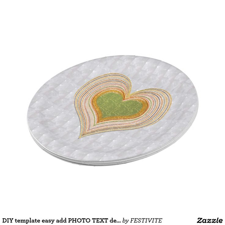 DIY template easy add PHOTO TEXT design EVENT NAME 7 Inch Paper Plate