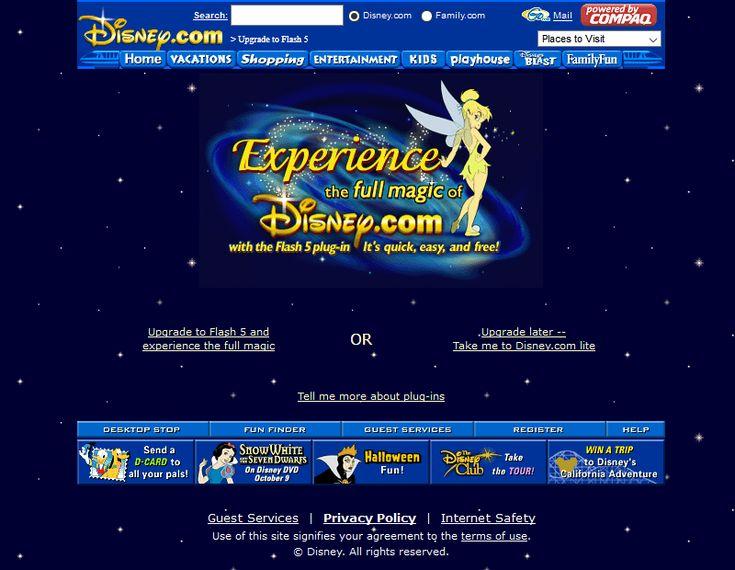 Disney website in 2001