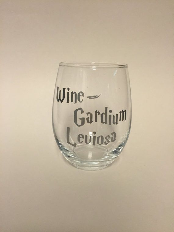 "Wingardium Leviosa Wine Glass <a href=""https://www.etsy.com/listing/466373411/wine-gardium-leviosa-inspired-by-harry?ga_order=most_relevant"