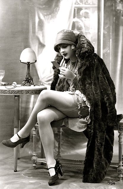 Lipstick and legs, French postcard c1925