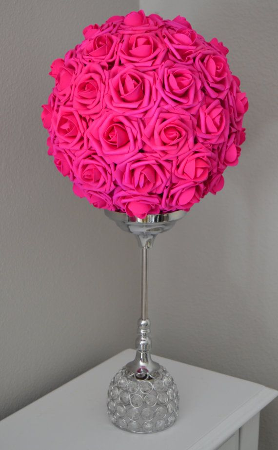 FUCHSIA/HOT PINK Flower Ball. Pomander. Kissing by KimeeKouture
