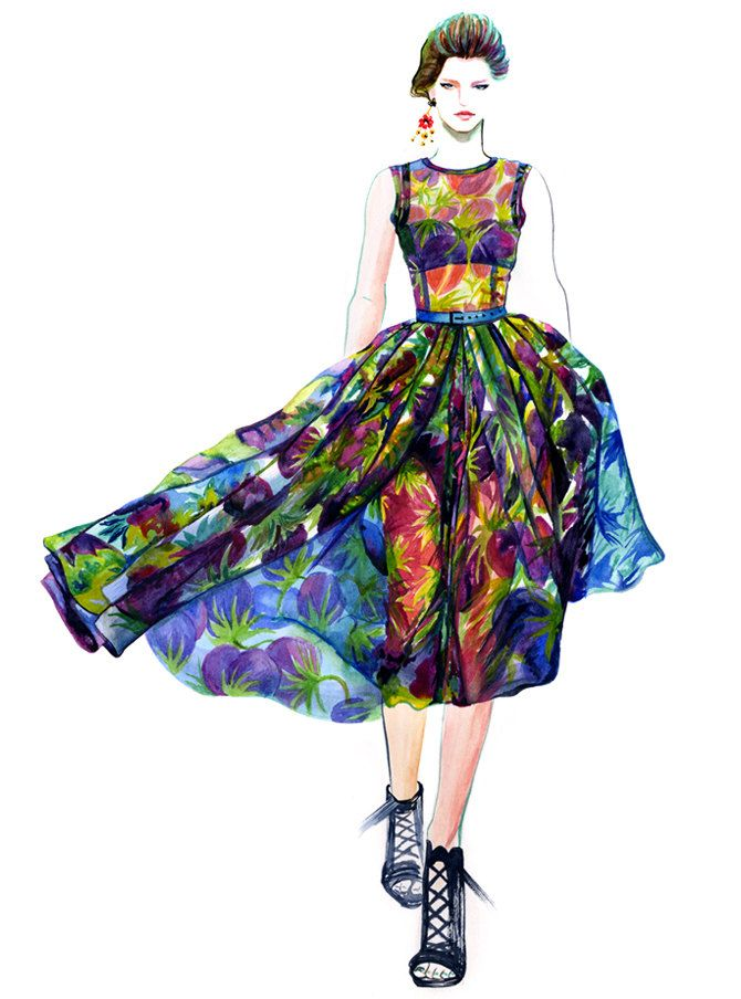 Runway Fashion Illustration Dolce & Gabbana by sunnygu on Etsy, $30.00