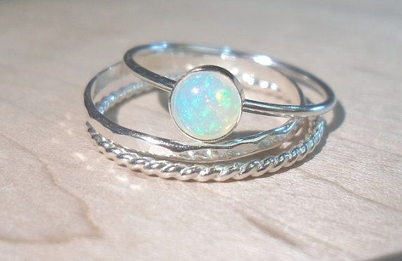 Opal ring Stacking Set-Sterling silver opal stacking rings-Ethiopian Opal stacking rings set-October brithstone-Bridesmaid gifts on Etsy, $52.00