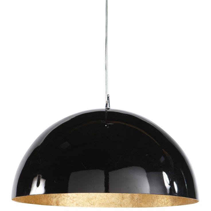 Lámpara de techo negra y dorada de plástico Diám. 49 cm AMBRE