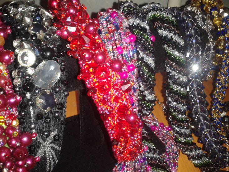 Купить Ободок КРАСНЫЙ - ярко-красный, ободок для волос, Ободок с камнями, Аксессуары для волос