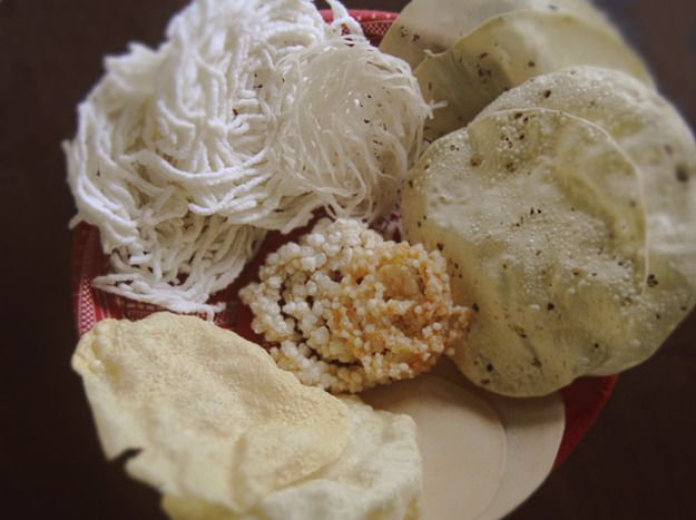 Poppadoms are an Indian staple made from little more than flour, water, and spices. Roasted, toasted, fried, or sun-dried, the thin, flavorful crisps make for a quick, healthy snack or side.