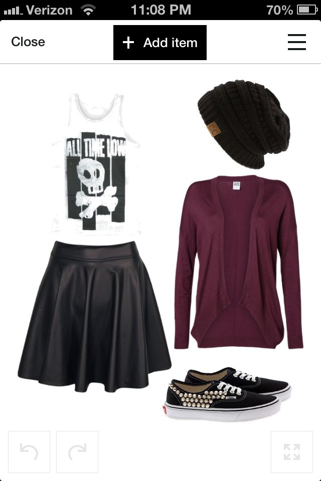 My new favorite outfit designed on Polyvore! All Time Low tank, leather skater skirt, studded Vans, oversize knit beanie, & maroon cardigan. I would wear it everyday