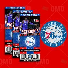 "2.5x6"" Philadelphia 76ers Sports Party Invitation, NBA Sports Tickets Invites, Sixers Basketball Birthday Theme Party by sportsinvites"