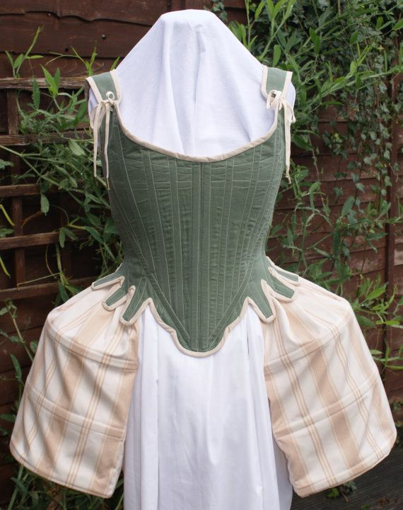 18th Century Clothing Marie Antoinette Linen Stays Corset Half Boned Rococo Period Costume for Historical Reenactment