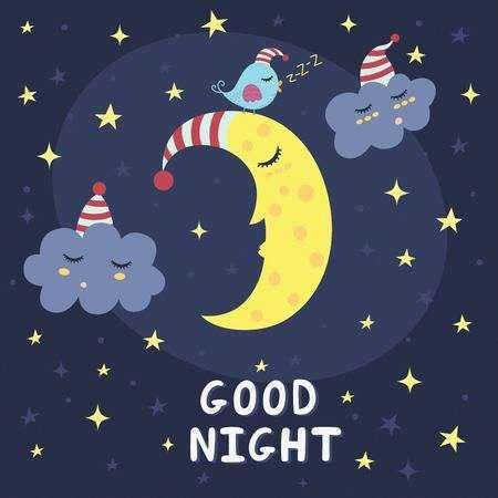 Good night card with the cute sleeping moon, clouds and a bird. Vector illustrat…