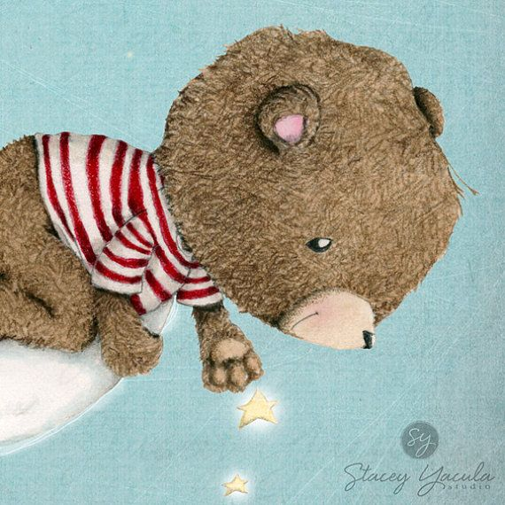 children's wall art collection bear brown red by staceyyacula