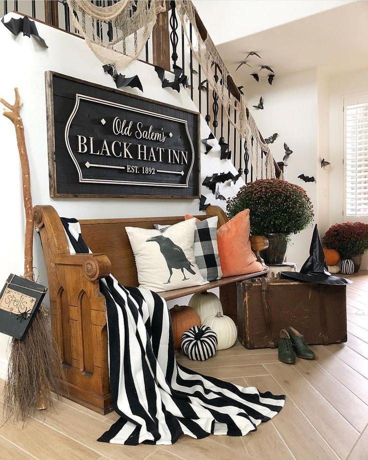 Black And White Halloween Decor Halloween Living Room Halloween Home Decor Diy Halloween Decorations