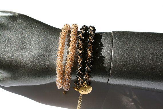 Gold beaded wrap bracelet, seed bead #crochet woven bracelet, pink seed beads, bohemian chic bracelet, #choker necklace:  Shiny beaded wrap bracelet. The bracelet is crochete... #handmade #jewelry #boho #etsy #epiconetsy #shopping #shopsmall #jewelryonetsy #etsyseller