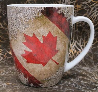 16 oz serving Stoneware Mug featuring Canada flag image. Designed by Pine Ridge Art.