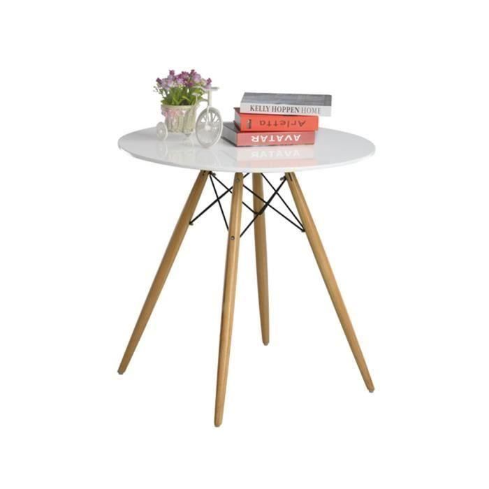 Table manger ronde blanche en bois laqu oslo d co - Luminaire table a manger ...