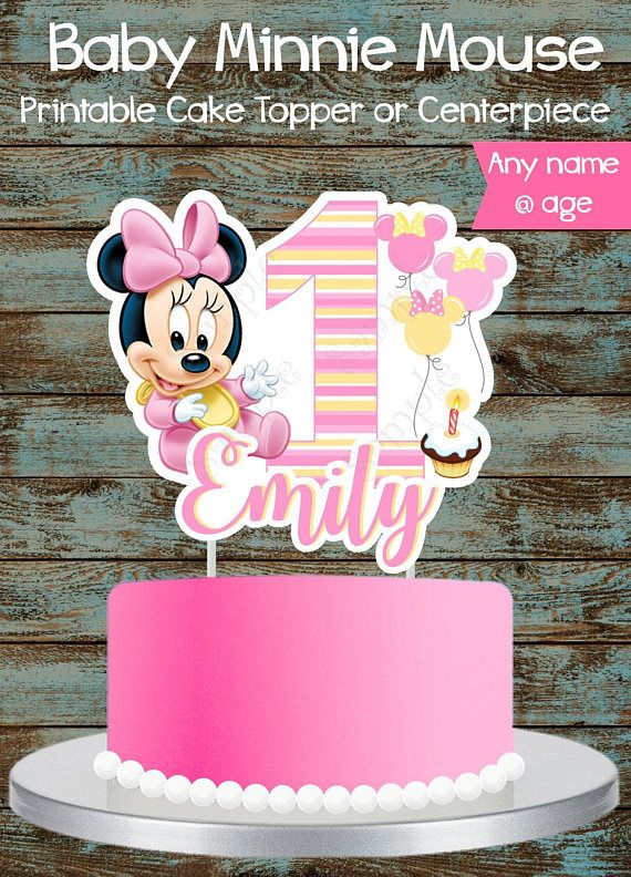 Baby Minnie Mouse 1st Birthday Cake Topper Printable Custom Baby Minnie Mouse Cake Topper Or Centerpiece Baby Minnie Mouse Centerpiece Diy Birthday Cake Topper Printable 1st Birthday Cake Topper Minnie Mouse