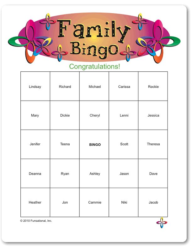 Family Games For Free : Printable family bingo games pinterest and