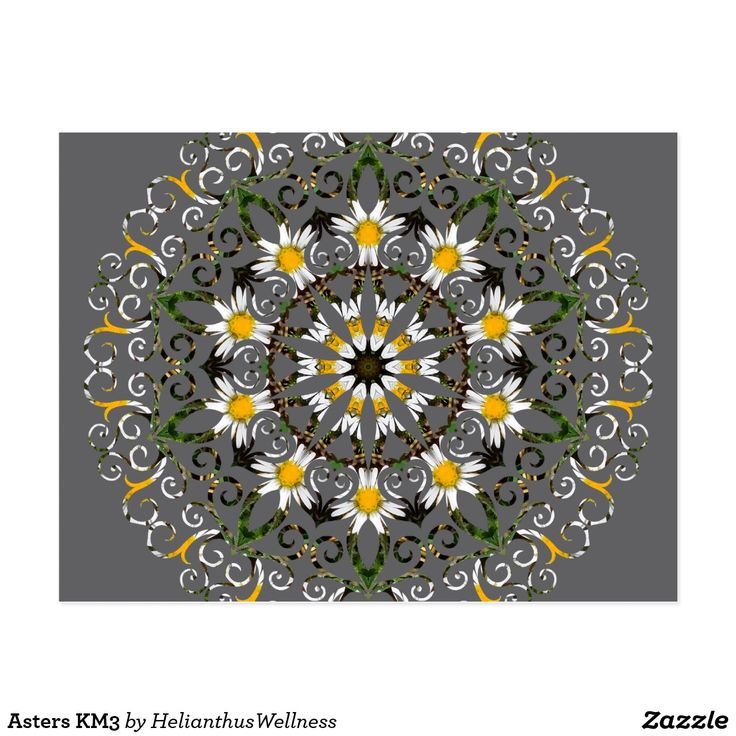 """Asters KM3 Postcard Craft touching, hand-written correspondence while on your next road trip! Available in matte or semi-gloss. #postcard #card #kaleidoscope #mandala #abstract #geometric #pattern #flowers #reiki #nature  #stationery Dimensions: 4.25"""" x 5.6"""" (portrait) or 5.6"""" x 4.25"""" (landscape) Full color CMYK print process Double sided printing for no additional cost Postage rate: $0.34 Paper Type: Matte"""