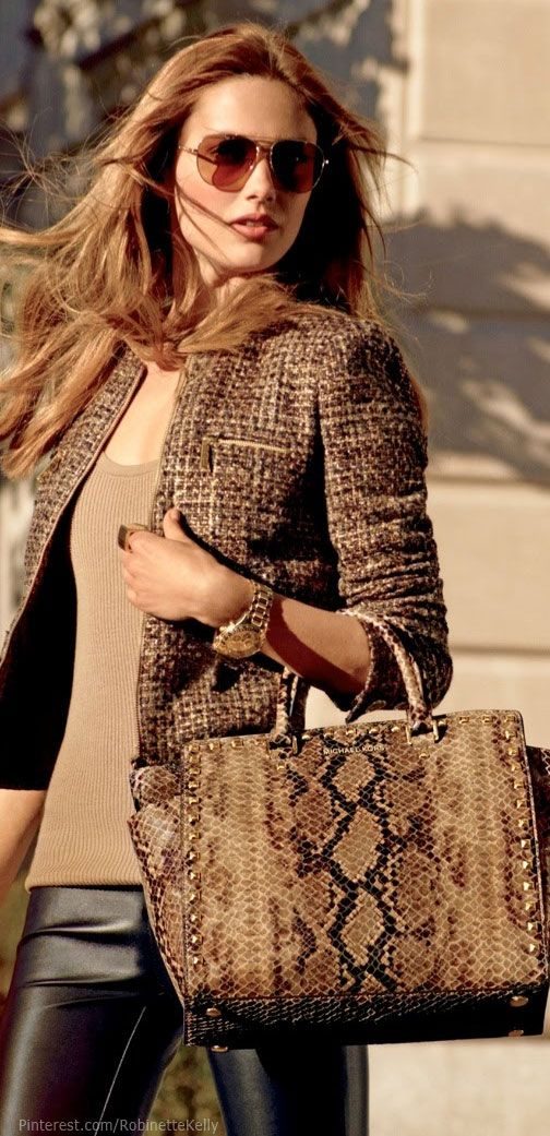 Love the Jacket. Michael Kors for fall: brown. jacket, snake printed bag, nude top and black leather pants.