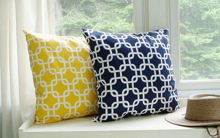 Nautical Pillow Covers Decorative Pillows Yellow Pillow Navy Pillow 8 Size choices Nautical ...