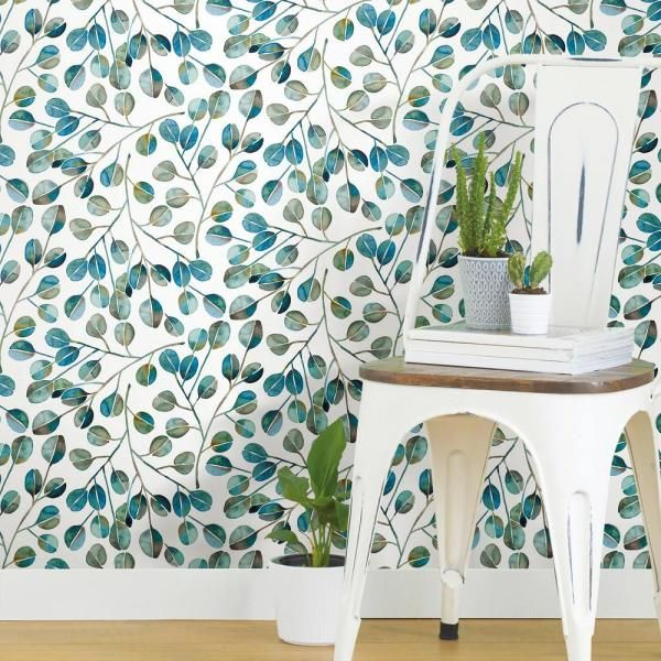 Roommates Cat Coquillette Eucalyptus Vinyl Peelable Wallpaper Covers 28 29 Sq Ft Rmk11384rl The Home Depot Peel And Stick Wallpaper Room Visualizer Wallpaper Roll