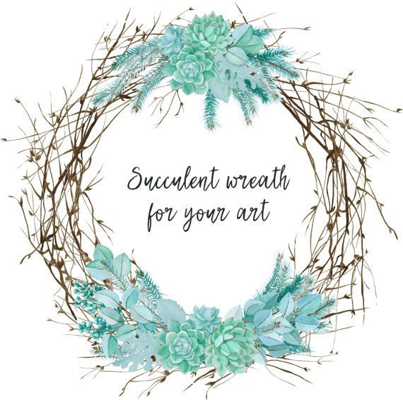 Watercolor Succulent Wreath by FancyWatercolor on Etsy