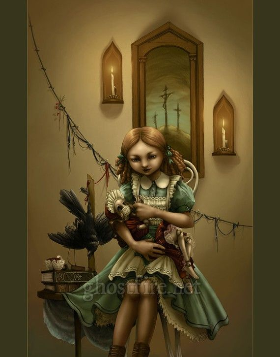 Creepy Little Girl with Doll and Bird Art Print  18 x by ghostfire, $40.00