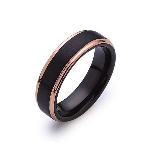 Black Tungsten Wedding Band - Black Brushed Ring - Rose Gold - 6mm Ring - Engagment Band - Comfor Fit
