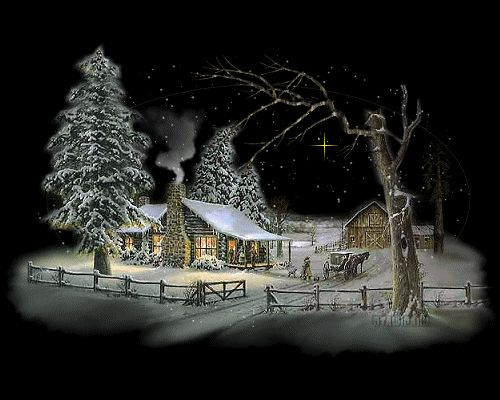 Cozy Cabin on a Cold Winter Night winter art snow painting sparkle cozy cabin graphic