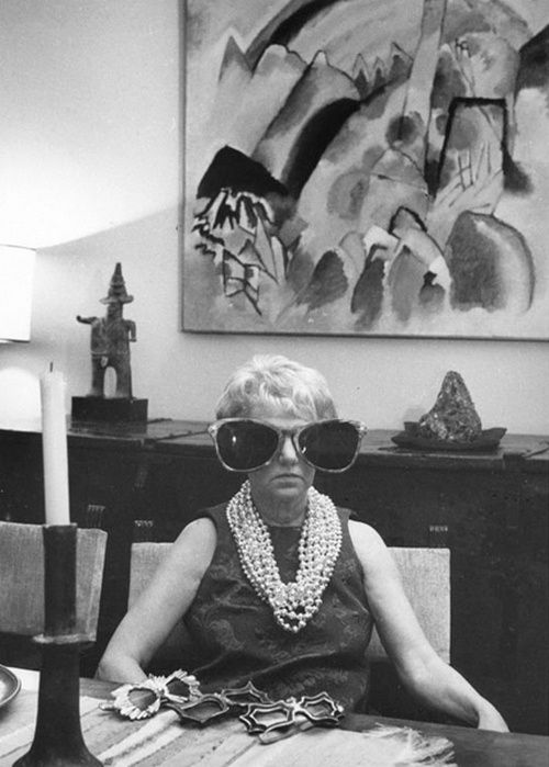 Peggy Guggenheim in Venice at what became her museum. Great collection of modern and even a few pieces of jewelry and a Calder headboard.