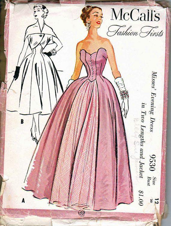 50's Strapless Evening Gown Boned Bodice Size 12 by retromonkeys, $85.00