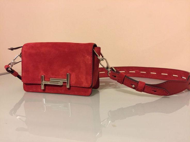 Tod's Handbag - Double T Mini Suede Crossbody (Red)    eBay
