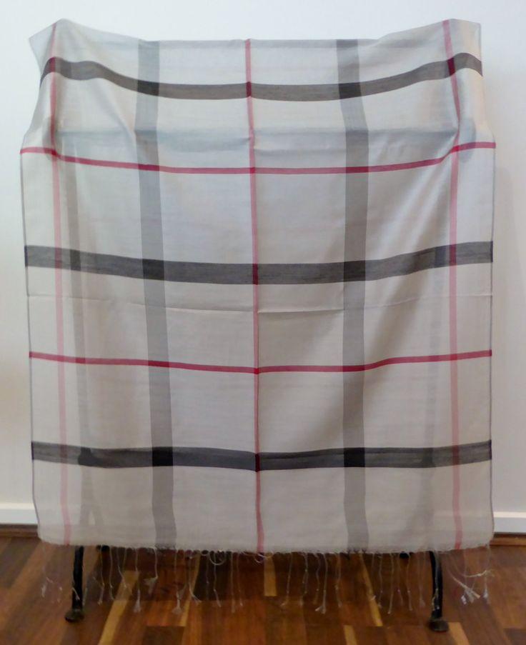 Scarf / Wrap / Shawl, 100% Silk, Unisex, Mens, Luxurious, Soft, Geometric Patterns, Neutral Palette, Grey with red stripes, #14 by WanderingThreadz on Etsy