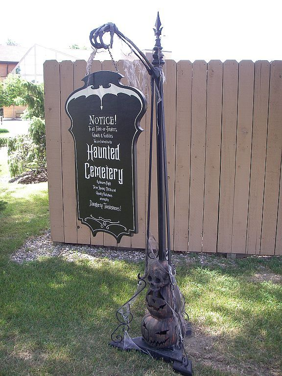 haunted cemetery sign and gloriously ghoulish signpost by eeriedesign via deviantart - Cemetery Halloween Decorations